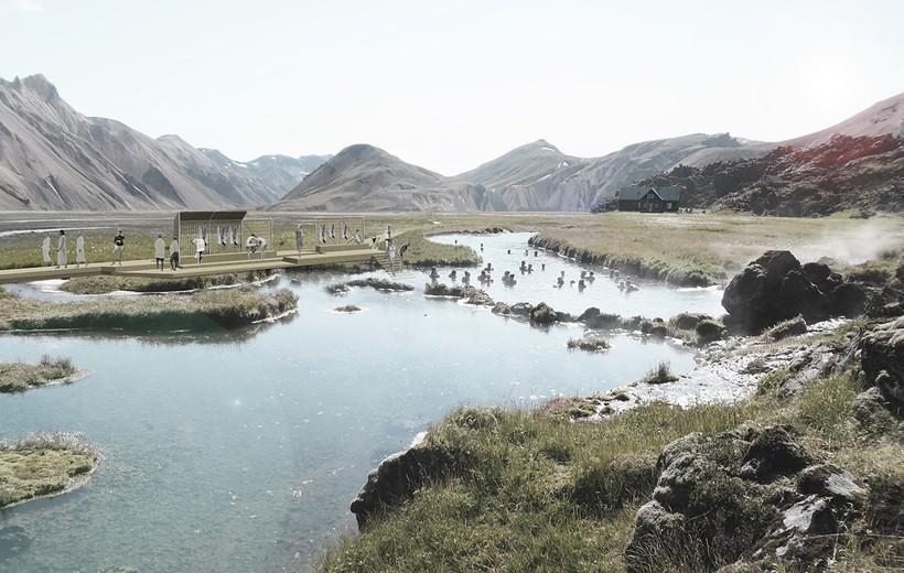 Tak będą wyglądać miejsca do kąpieli w ciepłych źródłach Landmannalaugar/ rysunek VA architects