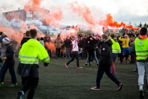 Radość z awansu KV Vesturbær (wtedy trzeci poziom rozgrywkowy).