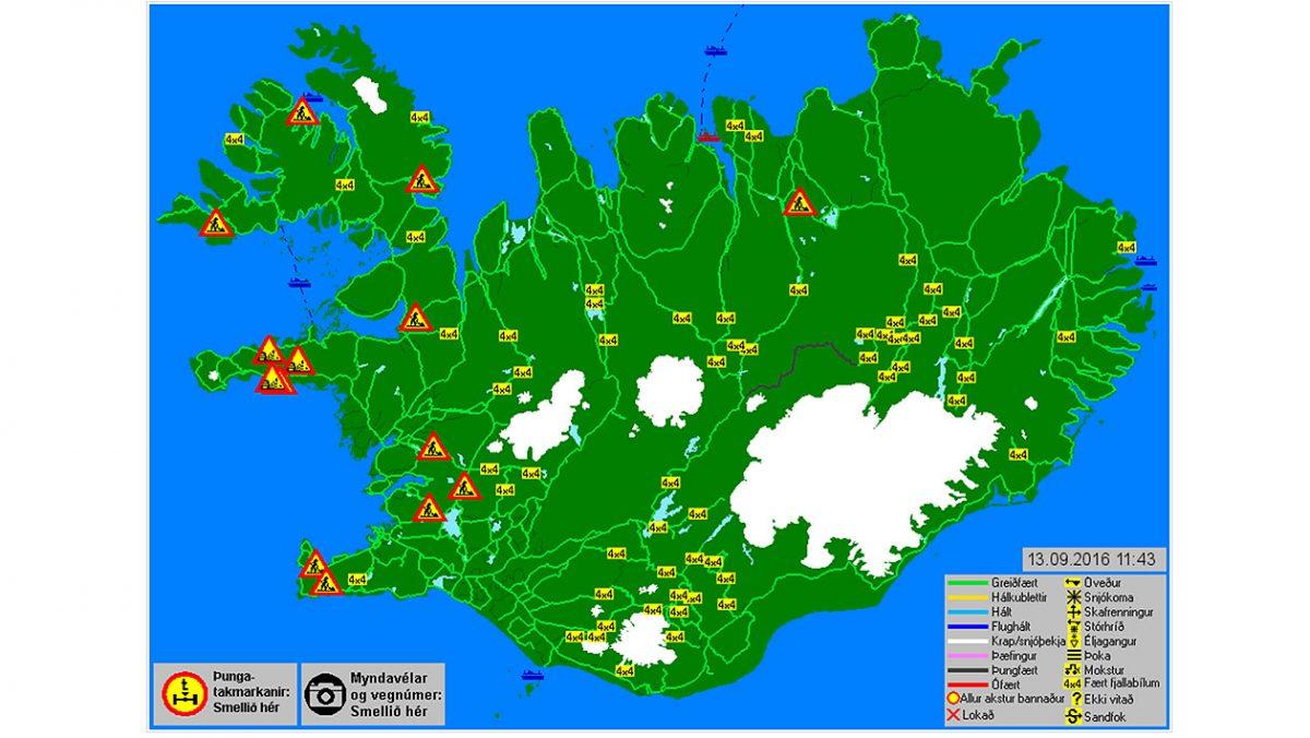 Mapa pokazująca warunki na drogach w kraju/ vegagerdin.is