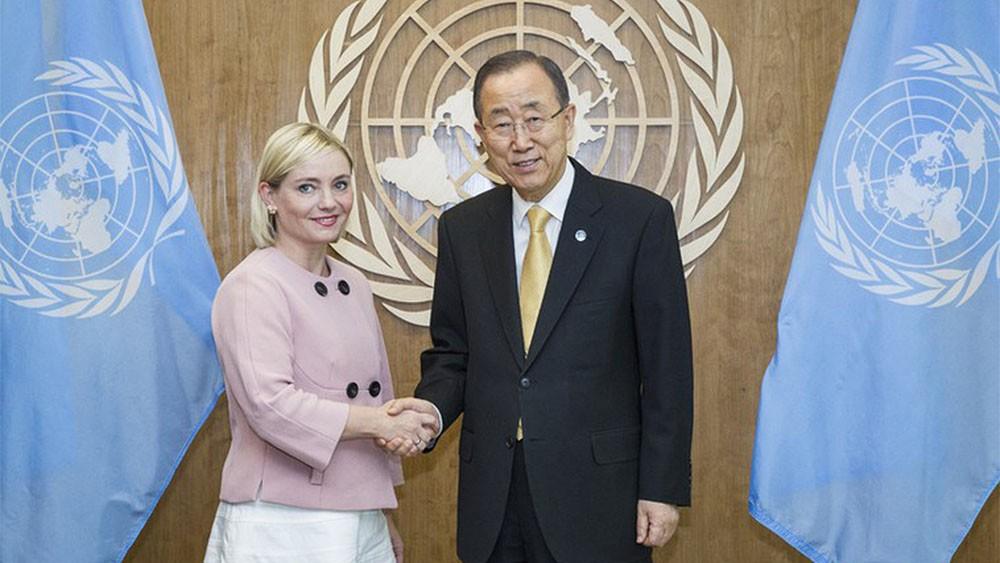 Minister spraw zagranicznych Islandii Lilja Alfreðsdóttir i Sekretarz Generalny Organizacji Narodów Zjednoczonych Ban Ki-moon / fot. Ministerstwo Spraw Zagranicznych