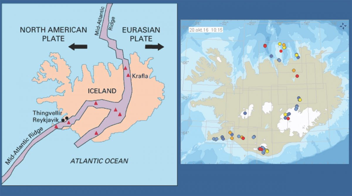 Mapa pokazująca połączenie płyt tektonicznych oraz miejsca występowania trzęsień ziemi/ vedur.is