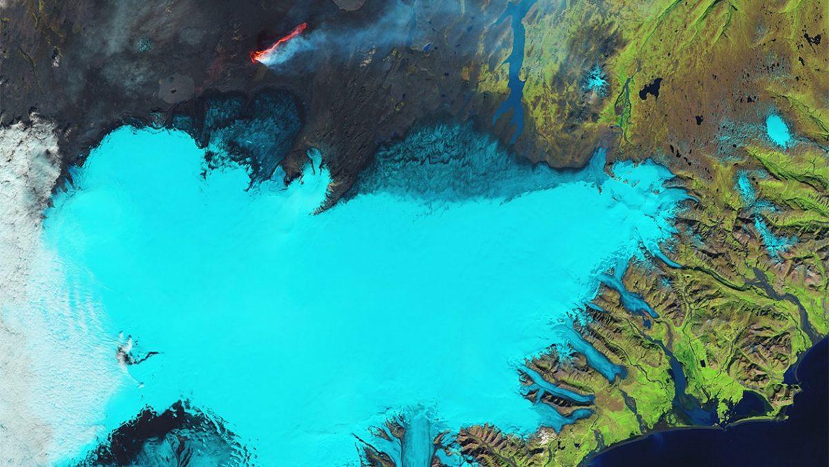 Widok na lodowiec Vatnajökull z przestrzeni kosmicznej/ fot. The European Space Agency