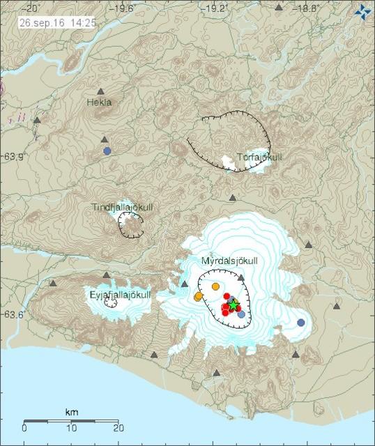 Mapa trzęsienia ziemi pod lodowcem/ vedur.is